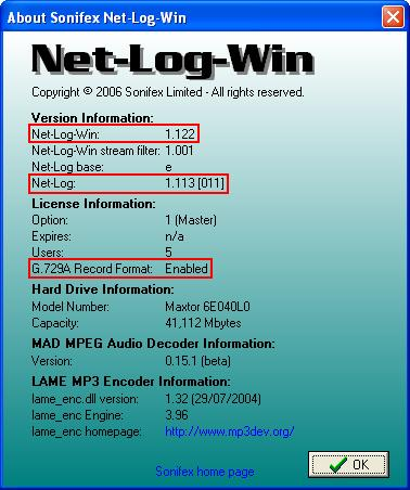 Net-Log Win About Screen
